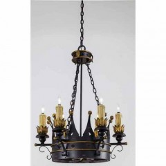 Metropolitan Lighting N6108-20 FRENCH BLACK W/ GOLD LEAF HIGH MONTPARNASSE