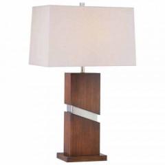 Minka Lavery 10035-0 Walnut+Brushed Nickel Table Lamps